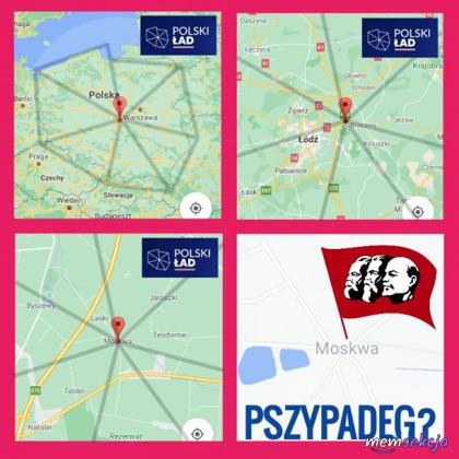 Logo Polskiego Ładu łączy się w Moskwie. Memy. Polski  Ład. Nowy  Ład. Moskwa. Komunizm