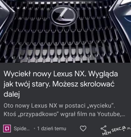 Nowy Lexus. Wygląda jak twój stary