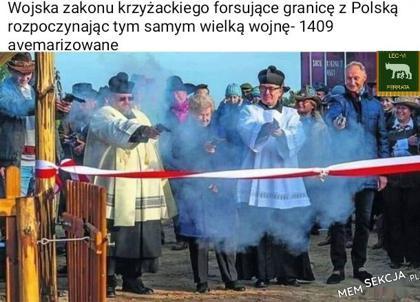 Wojska zakonu krzyzackiego forsujące granicę z polską