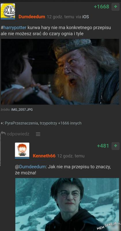 Harry Potter nie może srać do czary ognia