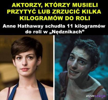 Anne Hathaway schudła 11 kilogramów do roli w Nędznikach