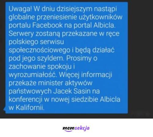 Przeniesie Facebooka na Albicle. Memy. Albicla. Fejzbuk. Awaria  Facebooka
