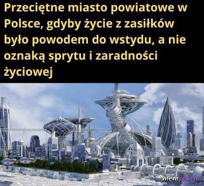 Tak by wyglądało przeciętne miasto powiatowe w Polsce