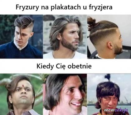 Fryzury na plakatach u fryzjera