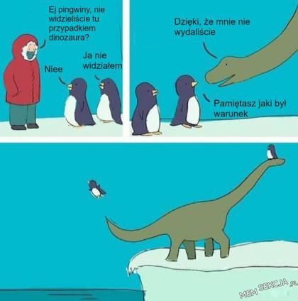 Ej pingwiny, nie widzieliście dinozaura?
