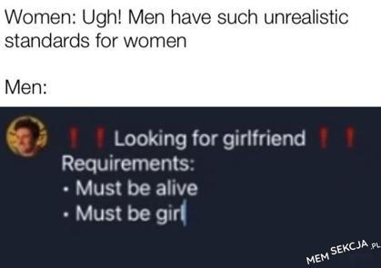 Bardzo wysokie oczekiwania mężczyzn wobec kobiet