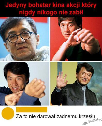Bohater kina akcji, który nikogo nie zabił. Memy. Jackie  Chan
