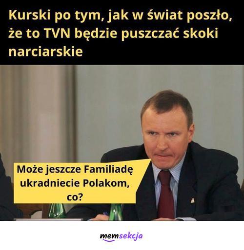 TVN będzie puszczać skoki narciarskie. Memy polityczne. Jacek  Kurski. Tvn. Skoki  Narciarskie