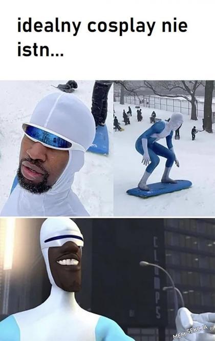 Idealny cosplay. Memy. Cosplay. Śnieg. Zima