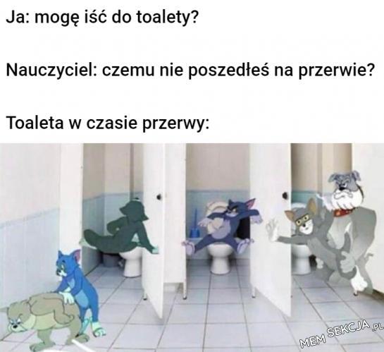 Toalety szkolne w czasie przerwy takie są