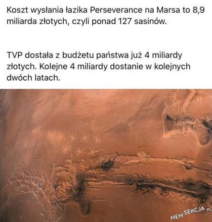 Koszt wysłania łazika na Marsa w porównaniu z budżetem TVP