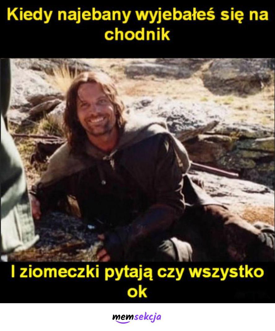Kiedy naebany wyebałeś się na chodnik. Memy. Aragorn. Chlanie