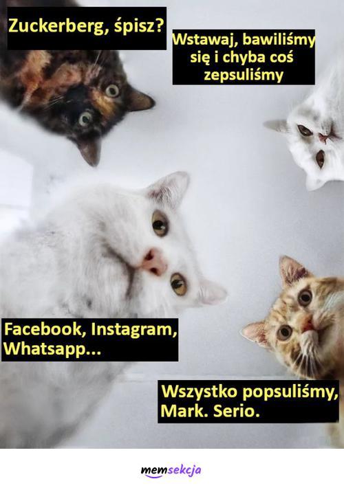 Mark, wszystko popsuliśmy, serio. Śmieszne. Mark  Zuckerberg. Awaria  Facebooka. Instagram. Whatsapp