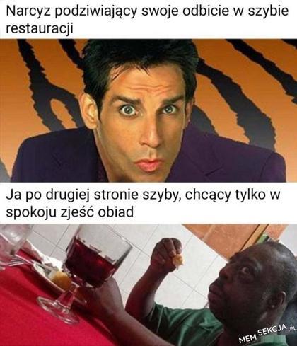 Narcyz podziwiający swoje odbicie w szybie restauracji