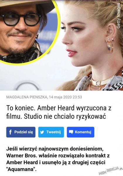 Amber Heard wyrzucona z filmu