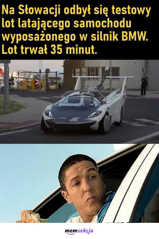 Testowy lot, latającego samochodu na Słowacji. Memy. Latający  Samochód. Słowacja