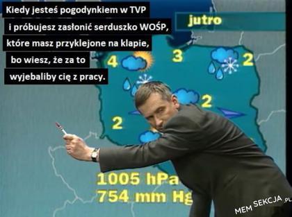 Pogodynka w TVP zasłaniająca serduszko