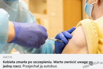 Kobieta zmarła po szczepieniu. Przejechał ją autobus