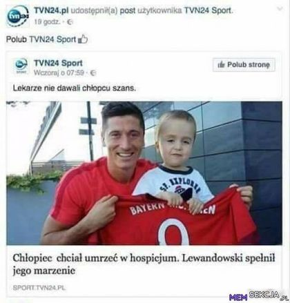 Chłopiec chciał umrzeć w hospicjum. Lewandowski spełnił jego marzenie