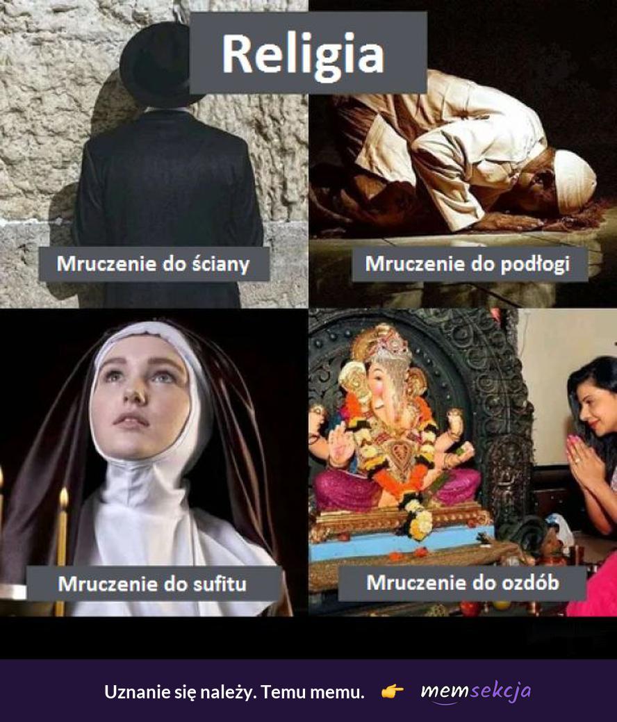 Różne rodzaje mruczenia. Śmieszne. Religia. Muzułmanie. Katolik. Żyd. Buddyzm