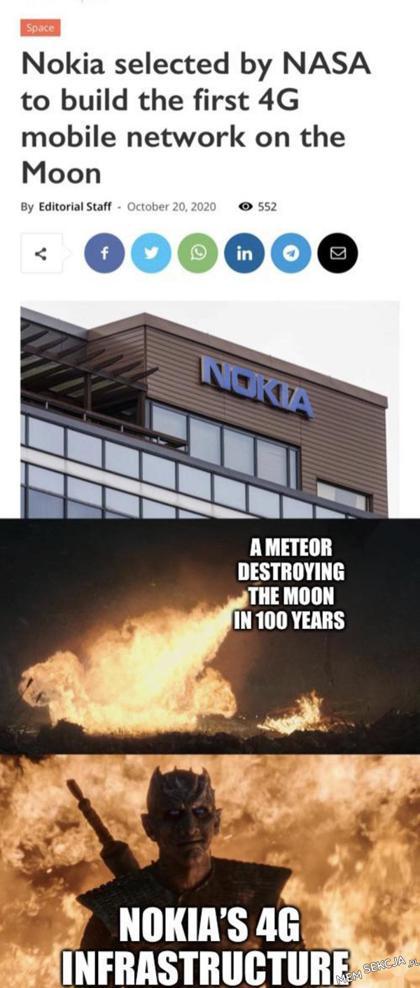 Nokia selected by nasa