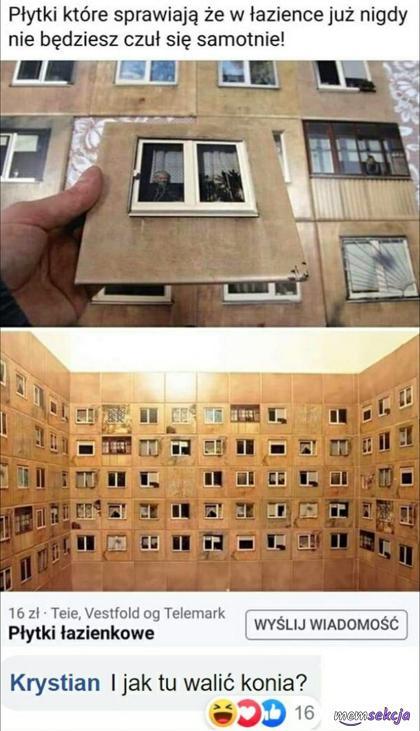 Płytki łazienkowe z oknami