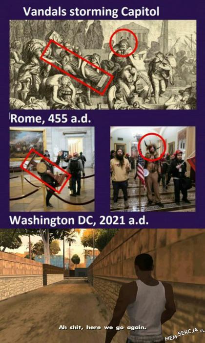 Vandals storming capitol. English