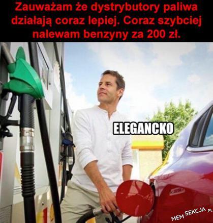 Coraz szybciej nalewam benzynę za 200 zł. Memy. Stacja  Paliw