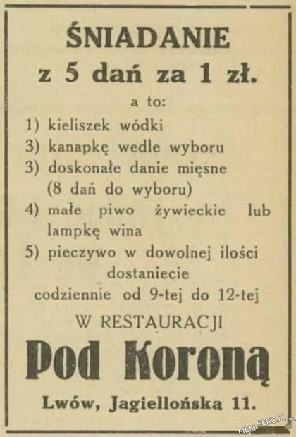 Śniadanie z 5 dań za złotówkę we Lwowie