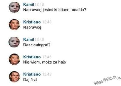Autograf od Kristiano Ronaldo za 5 złoty