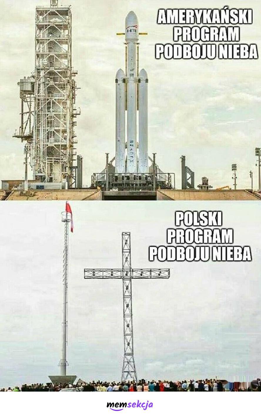 Polski program podboju nieba. Śmieszne. Niebo. Kosmos. Krzyż. Rakiety