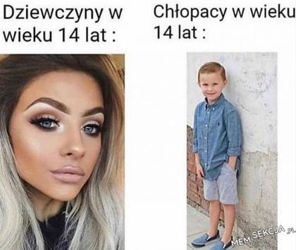 Dziewczyny vs chłopcy w wieku 14 lat