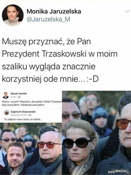 Trzaskowski w szaliku Jaruzelskiej
