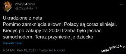 Pomimo zamknięta siłowni Polacy są coraz silniejsi