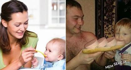 Jedzenie z mamą vs jedzenie z tatą