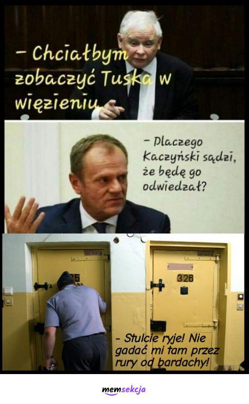 Tusk i Kaczyński w więzieniu. Memy polityczne. Więzienie. Donald  Tusk. Jarosław  Kaczyński