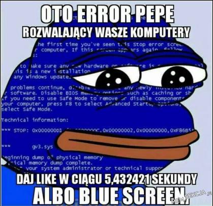 Error Pepe. Like albo blue screen