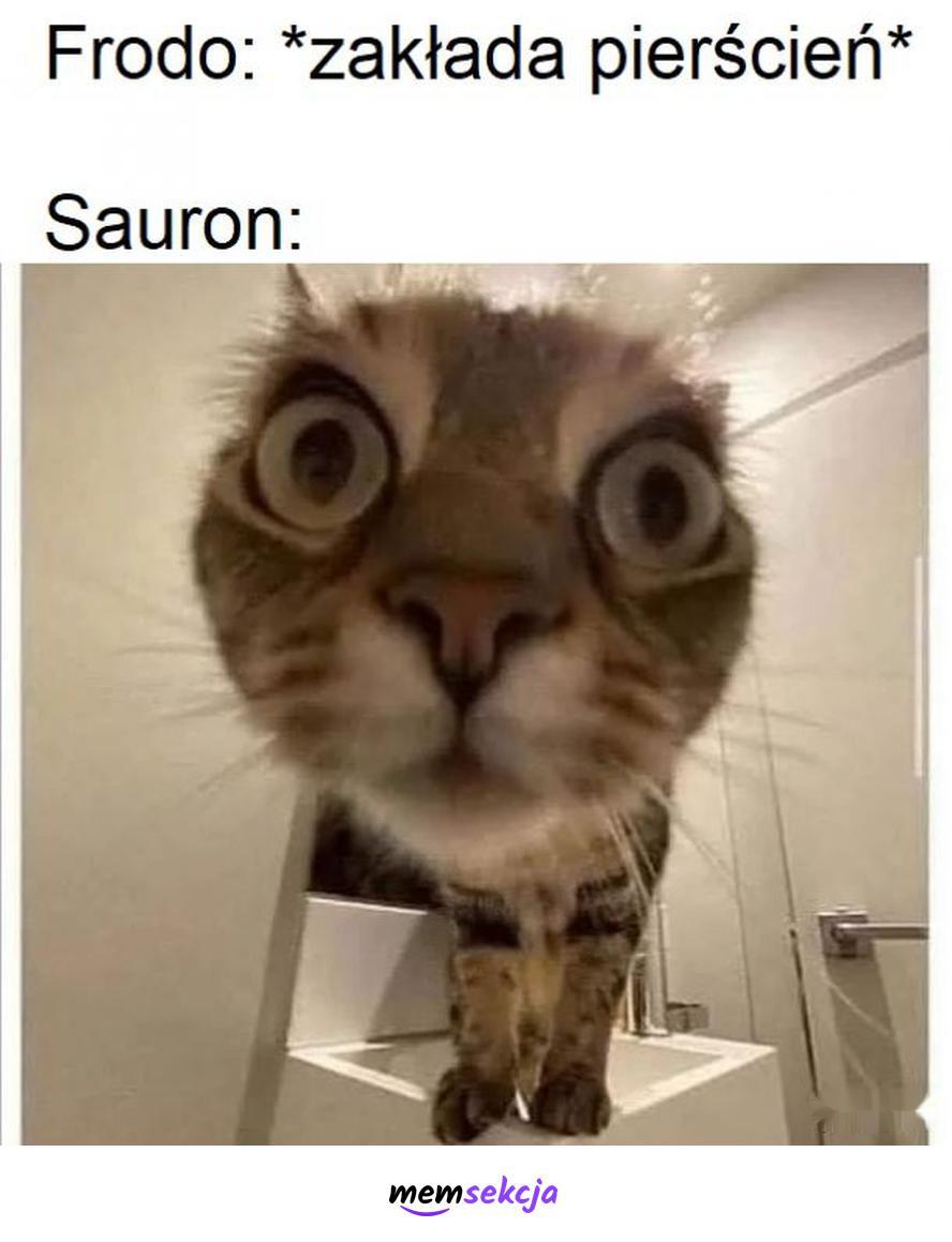 Sauron kiedy Frodo zakłada pierścień. Władca pierścieni. Frodo. Sauron