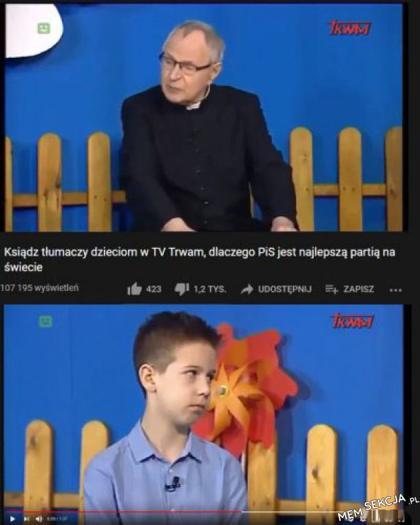 Ksiądz tłumaczy dzieciom dlaczego PIS jest najlepsze
