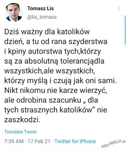 Tomasz Lis broni wiary w Środę Popielcową. Wycinki. Tomasz  Lis. Twitter