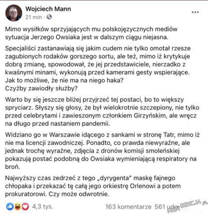 Wojciech Mann o Owsiaku i WOŚP