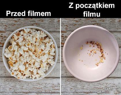 Popcorn z początkiem filmu