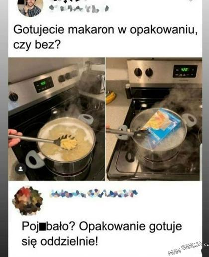 Gotujecie makaron z opakowaniem czy bez?
