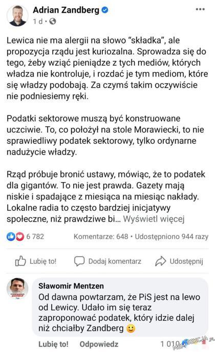 Sławomir Mentzen zgadza się z Adrianem Zanbergiem
