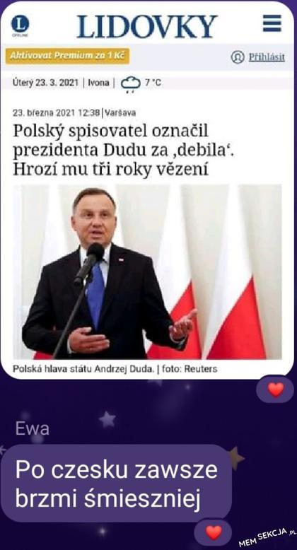 Polsky spisovatel oznacil prezidenta Dudu za debila