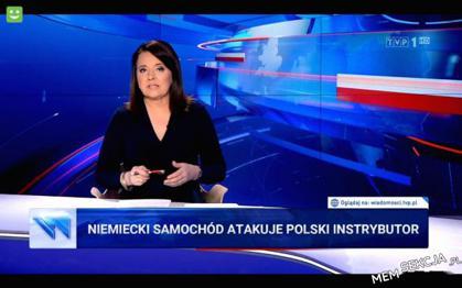 Niemiecki samochód atakuje polski instrybutor