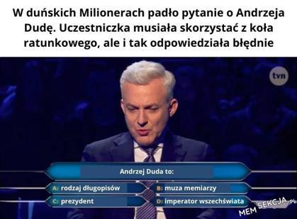 Pytanie o Andrzeja Dudę w milionerach
