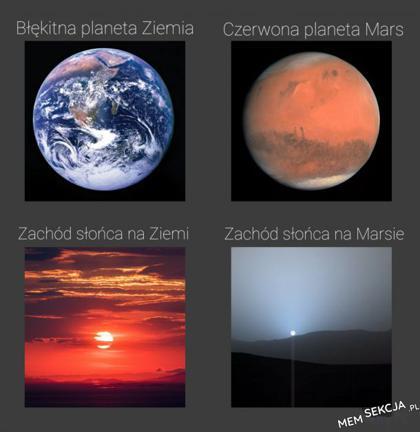 Błękitna planeta vs czerwona planeta. Memy. Ziemia. Mars