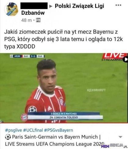Mecz sprzed 3 lat transmitowany na żywo