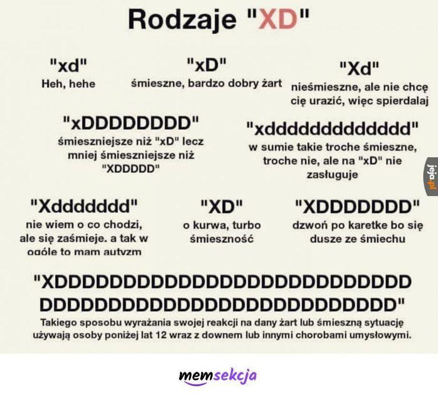 Rodzaje xd. Memy. Xd